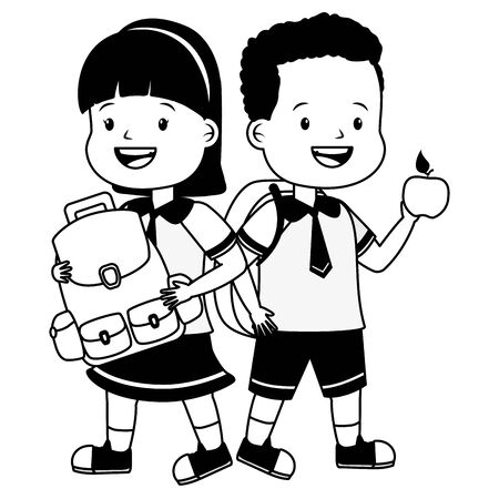 boy and girl student with apple and backpack, back to school  illustration Çizim