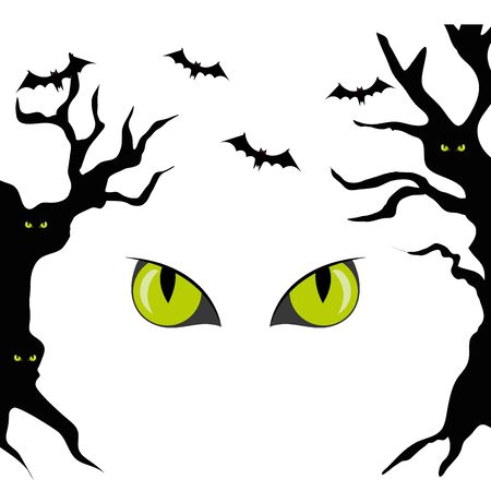 haunted dry trees with eyes scary and bats flying  illustration design