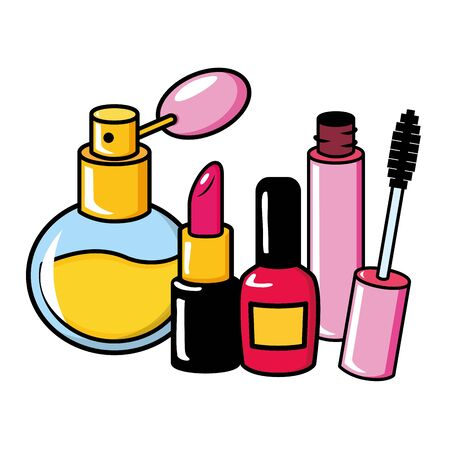 Cosmetics pop art elements  illustration  イラスト・ベクター素材