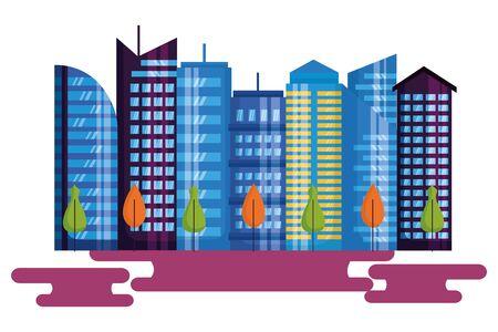 urban city downtown trees landscape vector illustration Vector Illustratie