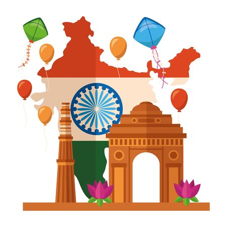 map with indian flag and gate building independence day  illustration design