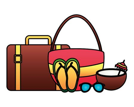 summertime holiday suitcase bag flip flops coconut sunglasses   illustration