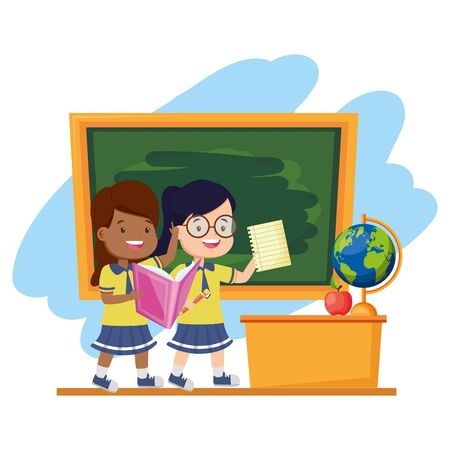 Students with book, chalkboard, desk, globe and apple, back to school  illustration