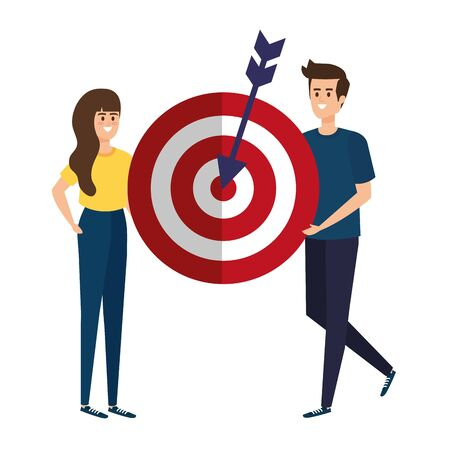 young couple lifting target arrow success  illustration design
