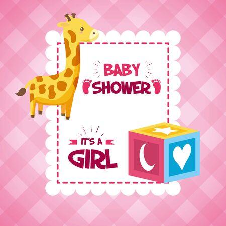 giraffe cube baby shower card, its a girl  illustration Illustration