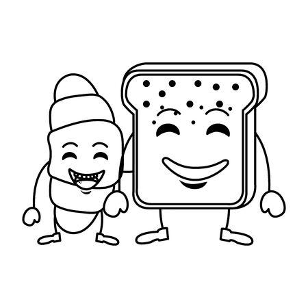 delicious breads kawaii characters Stockfoto - 130327012