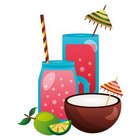 summertime holiday juice coconut cocktail  illustration Banque d'images - 130327059