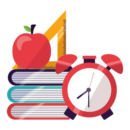 books, clock, triangle ruler and apple, back to school  illustration