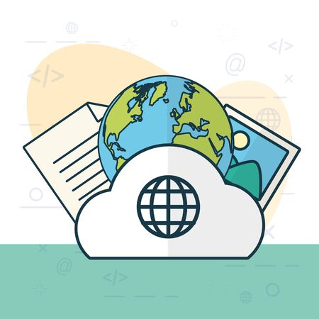 cloud computing, globe, photo and data  illustration