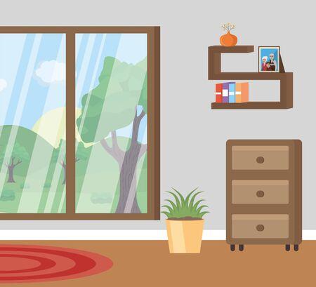 living room landscape stands books plant  illustration Stock Illustratie