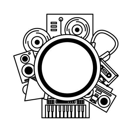 Stereo vinyl speaker headphones music festival on white background Illustration