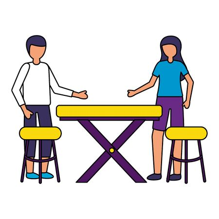 man and woman with table and chairs  illustration