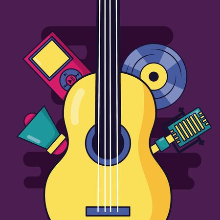 guitar microphone vinyl music with colorful background Stockfoto - 130327978