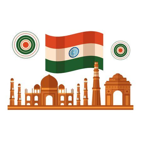 taj mahal   with flag illustration design