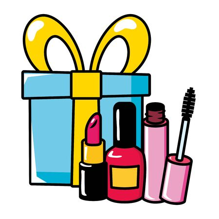 gift mascara brush lipstick pop art elements illustration