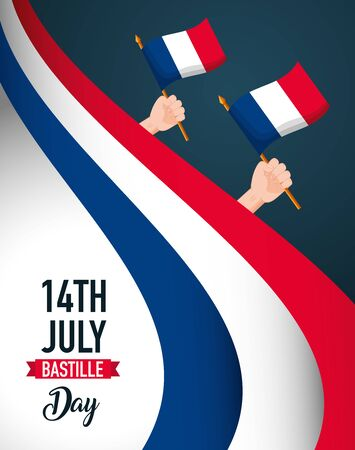 hands with flags poster, happy bastille day  illustration