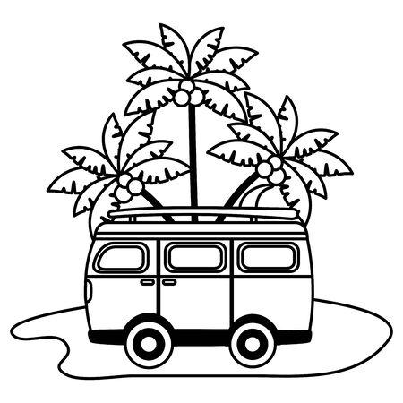 summertime holiday,  van palm trees beach   illustration