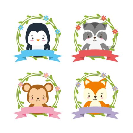 cute animals with flower  wreath decoration set  illustration