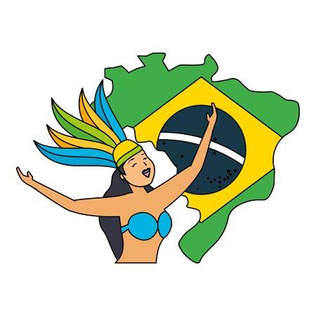 dancers exotic feathers flag map brazil carnival vector illustration 일러스트
