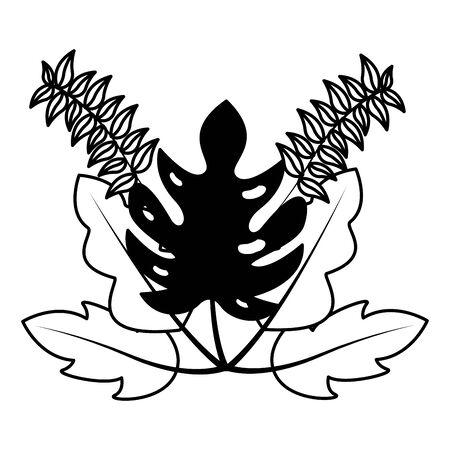 botanical leaf foliage on white background Vector Illustration