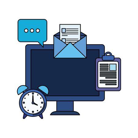desktop computer with envelope mail illustration design