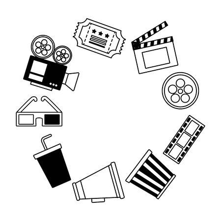 frame 3d glasses speaker popcorn ticket camera cinema movie vector illustration