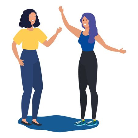 Freunde der jungen Mädchen, die Zeichenvektorillustrationsdesign feiern