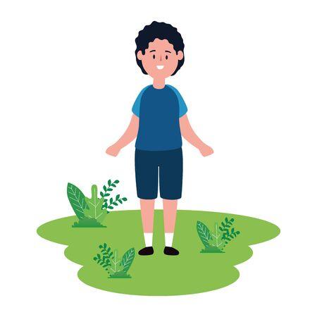 cute little boy on green field