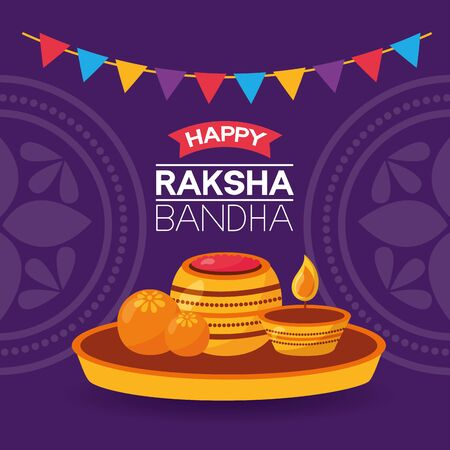 happy raksha bandhan pennants candles decoration vector illustration