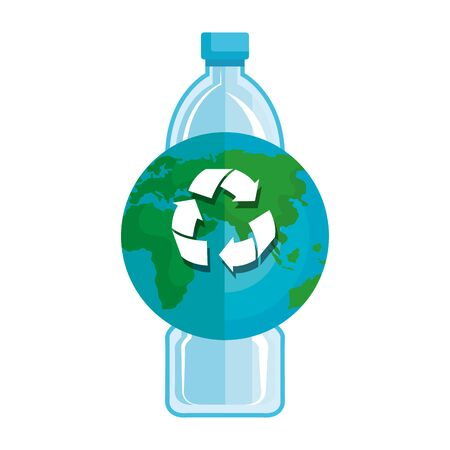 plastic bottle with world planet and recycle arrows vector illustration design