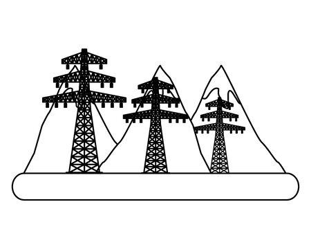 eco friendly electric posts mountains vector illustration