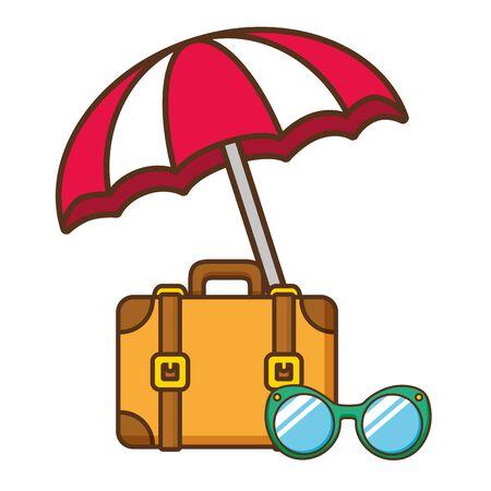 beach vacations suitcase sunglasses umbrella  vector illustration