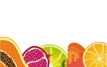 tropical fruits background papaya pomegranate lemon orange mango vector illustration