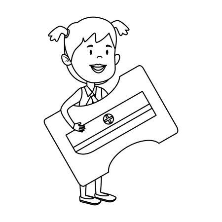 happy student girl with sharpener supply vector illustration design