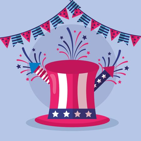 top hat fireworks garlands american happy independence day vector illustration