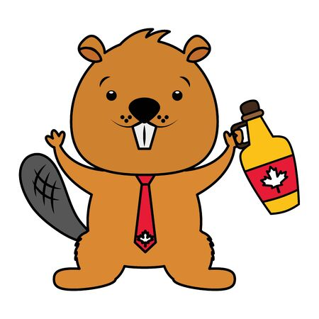 beaver with syrup maple happy canada day vector illustration Standard-Bild - 130344307