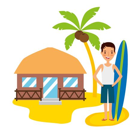 summer time holiday man with surfboard bungalow in the beach vector illustration Ilustração