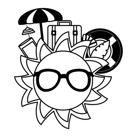 summer time holiday cartoon sun umbrella float bag juice lime  vector illustration
