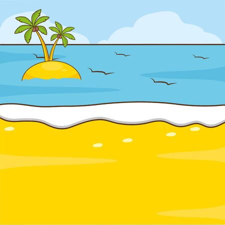 beach palms sea sand vacations island vector illustration Illustration