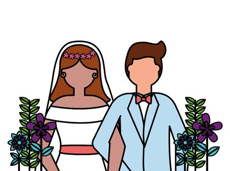 bride and groom celebrating wedding day vector illustration