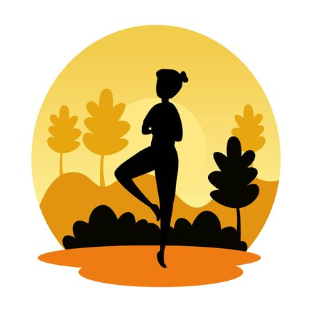 silhouette of woman practicing pilates on the landscape sunset scene vector design
