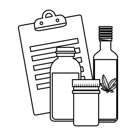 checklist and cannabis bottles products vector illustration design Иллюстрация