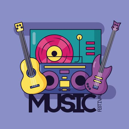 turntable guitars and boombox stereo music festival vector illustration Illustration