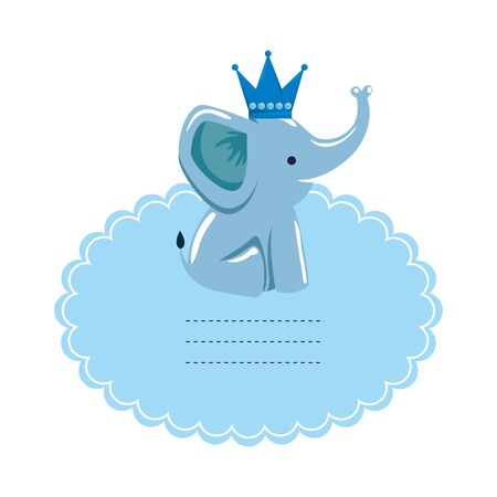 baby shower card with little elephant vector illustration design