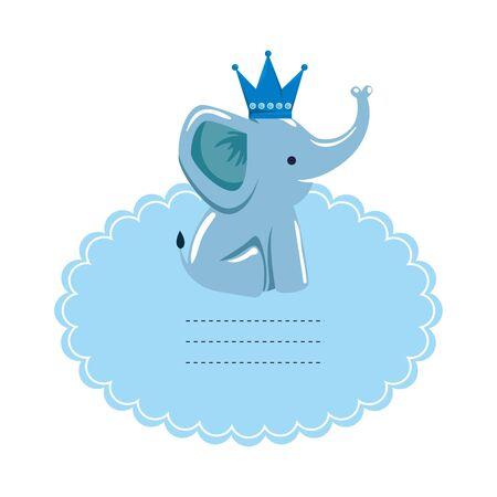 Babypartykarte mit kleinem Elefantenvektorillustrationsdesign