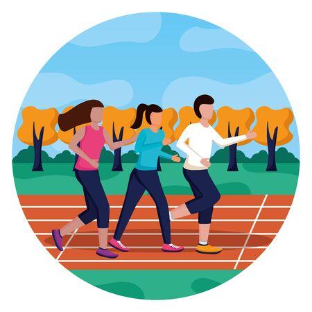 man and women training running track activity vector illustration