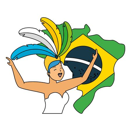 dancers exotic feathers flag map brazil carnival vector illustration Ilustrace