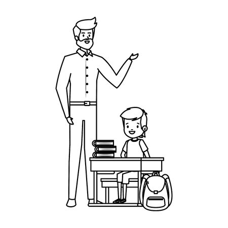 student boy seated in school desk with male teacher vector illustration design