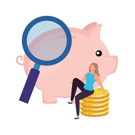 young woman with piggy and coins vector illustration design Ilustracje wektorowe