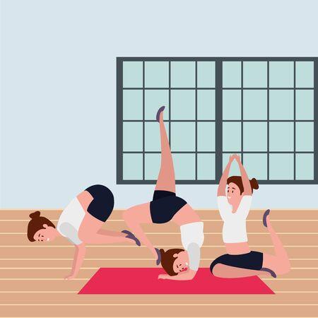 beauty girls group practicing pilates position in the gym vector illustration design Ilustración de vector